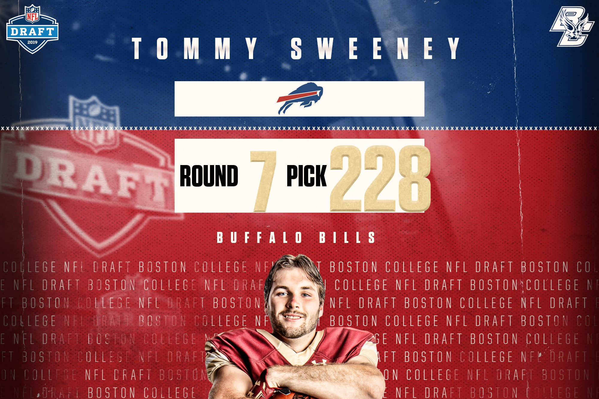 new product e363a 37f2a Buffalo Bills Select Tommy Sweeney in 2019 NFL Draft ...